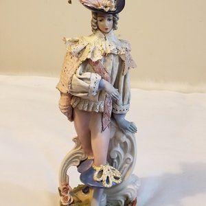Porcelain Man Figurine Dressed Up 1600's Clothing